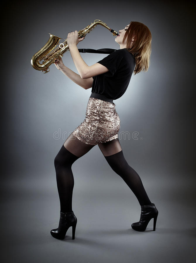 Download Saxophonist stock image. Image of attractive, fashion - 38962953