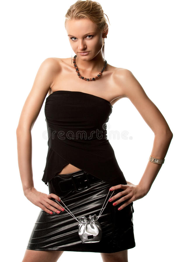 sensual nice blonde girl standing shaped stock photography