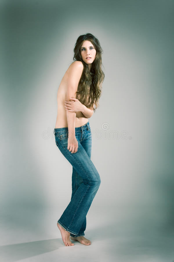 sensual topless fashion model woman in jeans stock photo