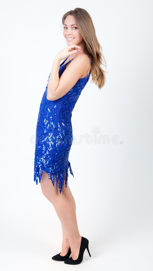 Download In Sequins stock image. Image of heels, blue, thin, dress - 31990807