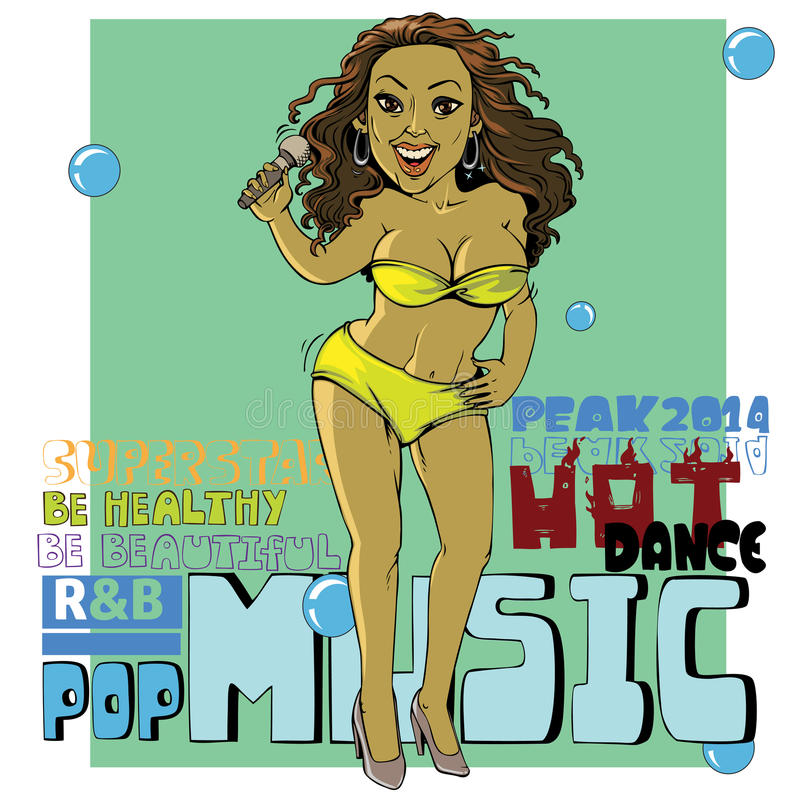 Singer. Vector drawing cartoons Singer dark skin girl Slender Blonde in a bikini vector illustration