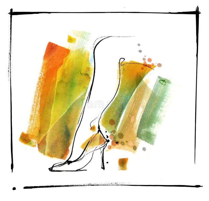 slender woman leg in watercolor royalty free stock photo