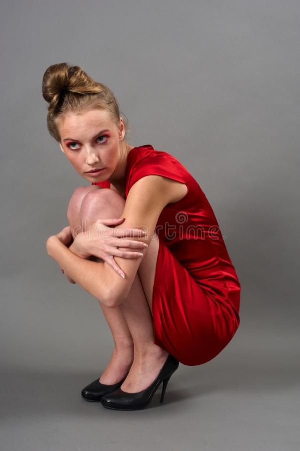 Download Slim woman in red dress stock photo. Image of model, modern - 18298020