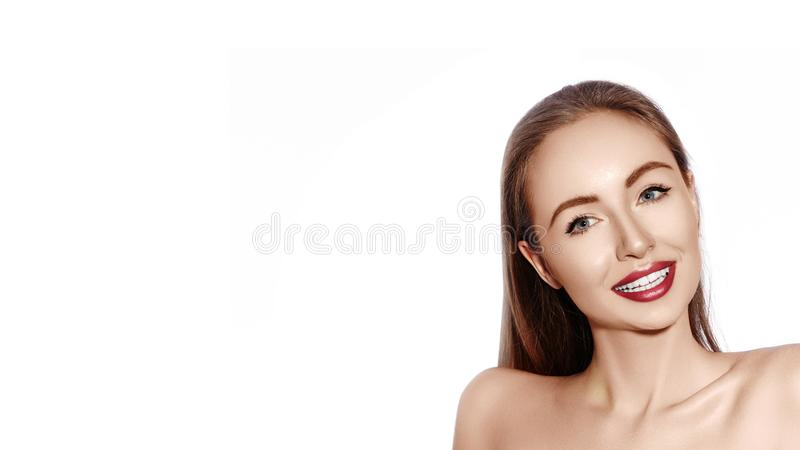 smiling woman with Glamour Red Lips, bright Makeup, clean Skin. Smile with White Teeth. Happy Fashion Girl stock photo