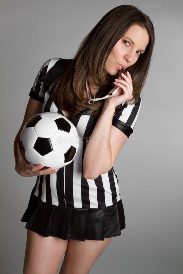 Soccer Referee. Referee holding soccer ball royalty free stock photo