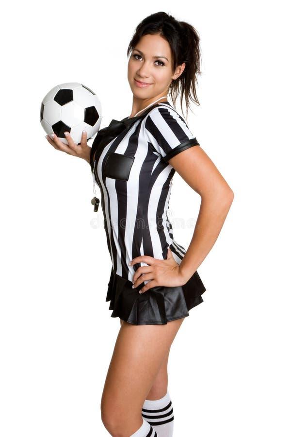 Soccer Referee. Soccer ball referee woman stock image