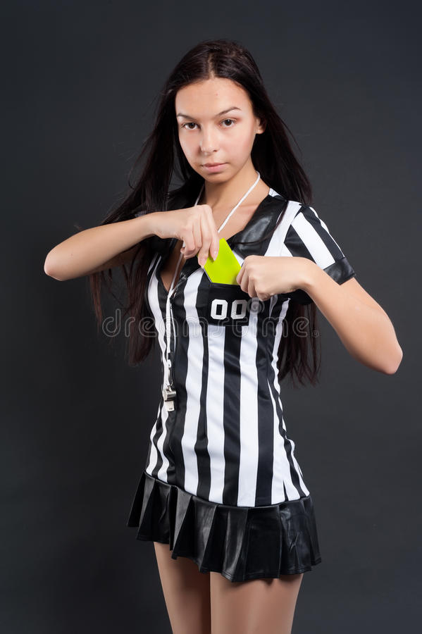 Download Soccer Referee With Yellow Card Stock Image - Image: 28101137