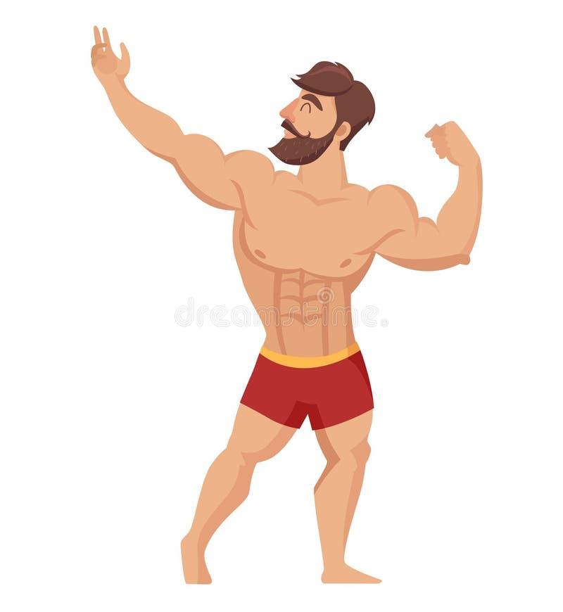 Sexy spier, gebaarde mens in rode borrels, het stellende bodybuilding Vector illustratie royalty-vrije illustratie