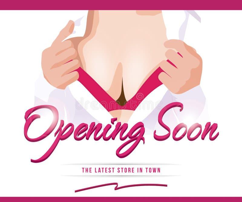 Sexy spoedig Openend Advertentiemalplaatje vector illustratie