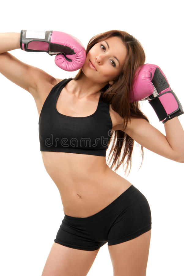 Sport Boxing Woman in pink box gloves. Beautiful Sport Boxing Woman in pink box gloves isolated on a white background royalty free stock images