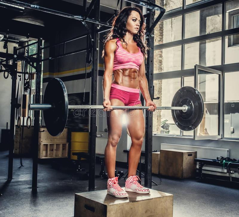 sporty female in pink sportswear holding barbell. stock photos