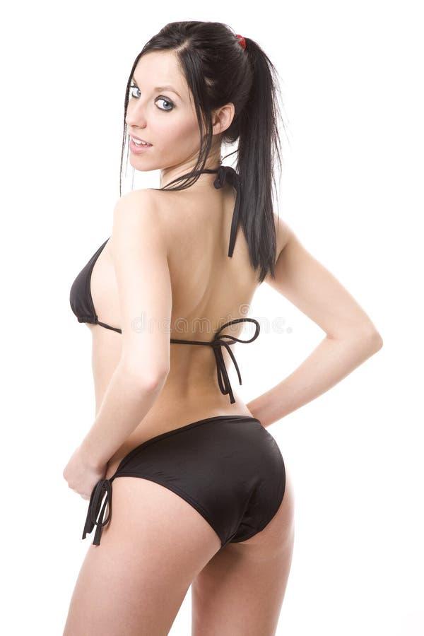 Sexy stel in zwarte bikini stock fotografie