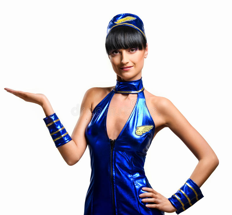 Sexy stewardess royalty-vrije stock foto's