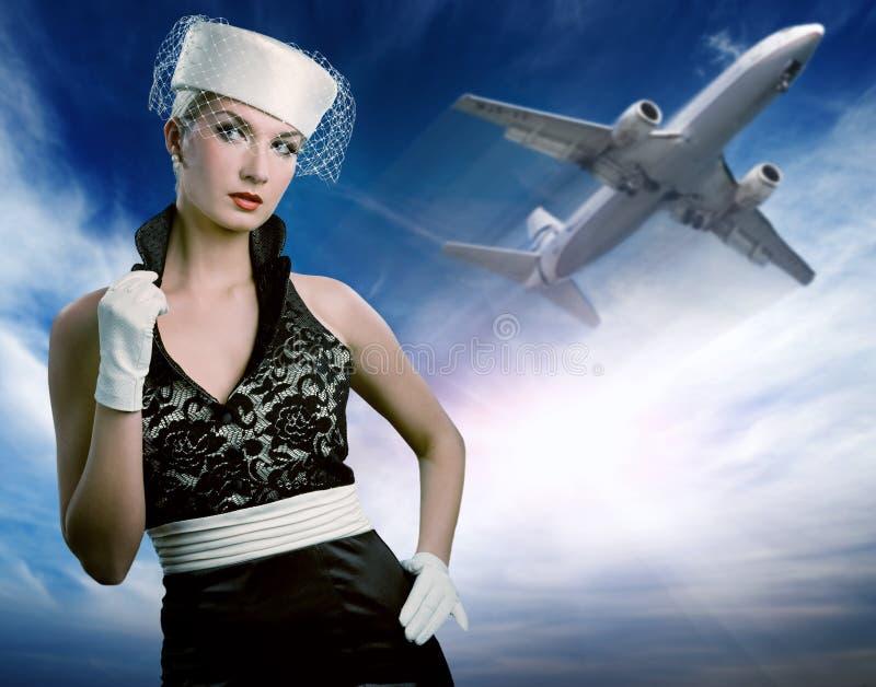 Sexy stewardess royalty-vrije stock afbeelding
