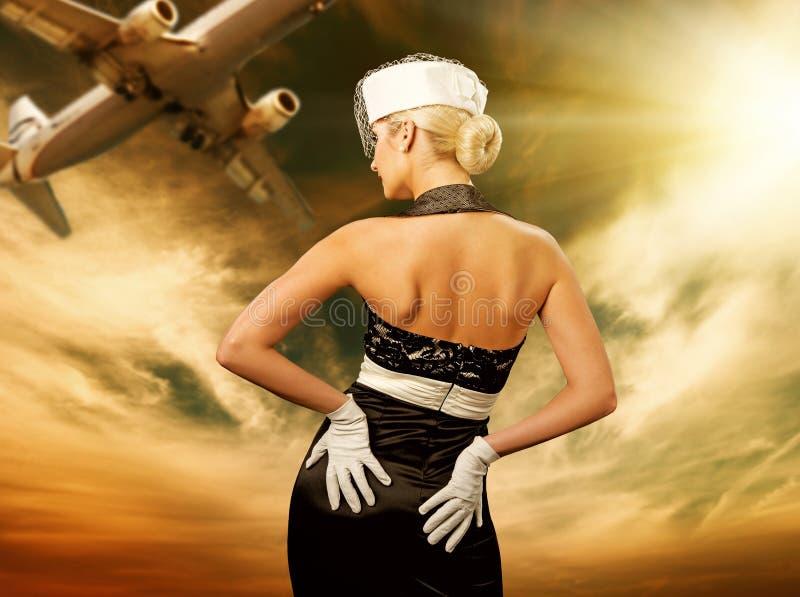 Sexy stewardess stock foto's