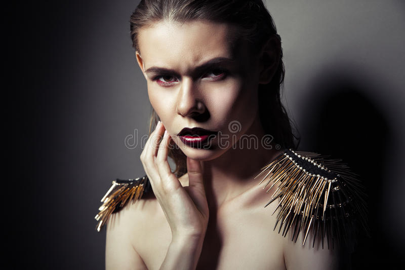 Download Strict Woman With Red Lips And Epaulettes Stock Photo - Image: 31369536