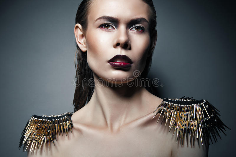 Download Strict Woman With Red Lips And Epaulettes Stock Image - Image: 31369629