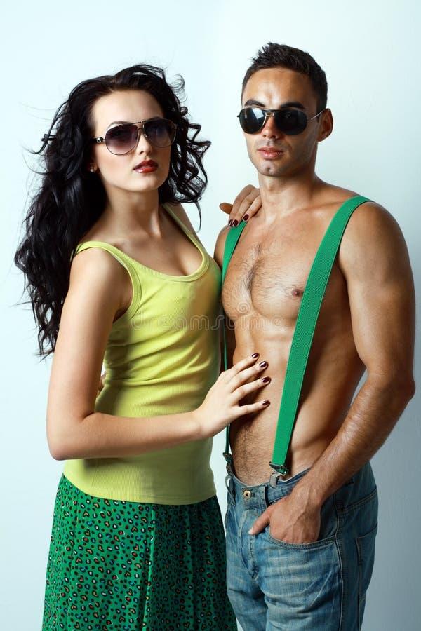 stylish young couple stock photography