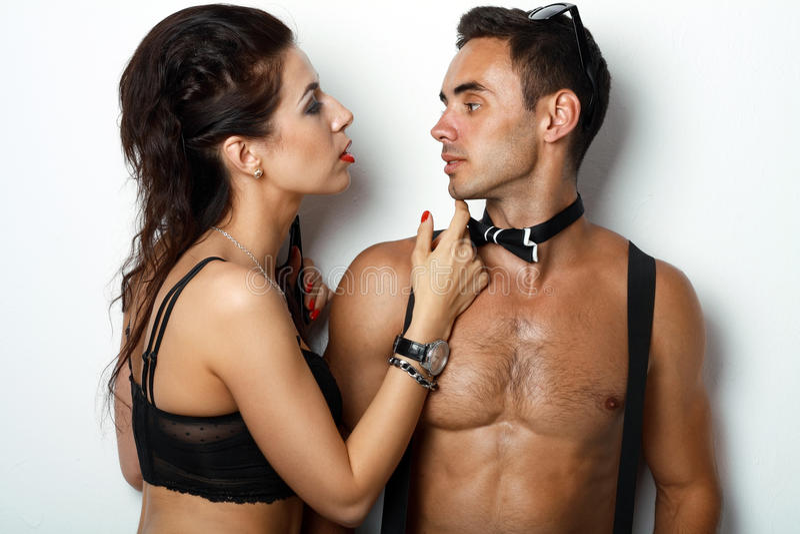 stylish young couple stock images