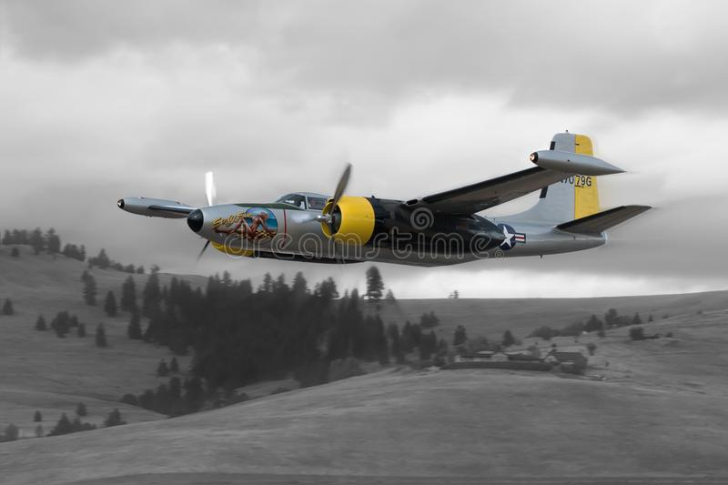 Sue A-26 Invader flying by stock images