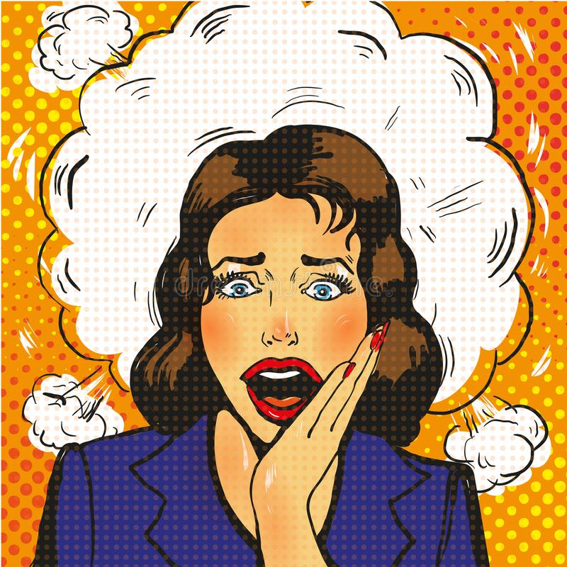 surprised pop art woman with wide open eyes and mouth and rising hands screaming. stock illustration