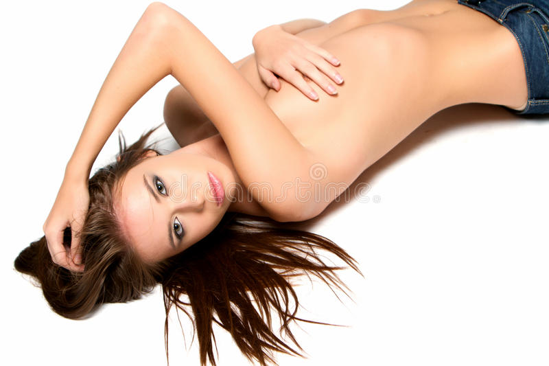 topless young woman stock photo