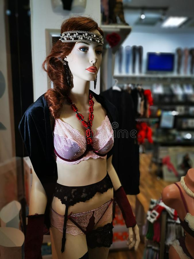 Sexy underwear for women, fashion dummy. Jewelry and sexy lingerie with girdle royalty free stock photos