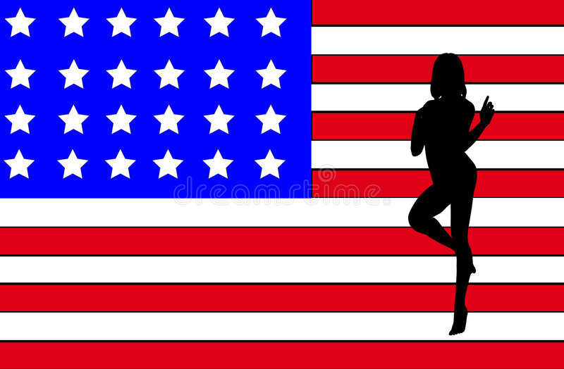 USA Women Outline. Nude outline of a women on the American flag