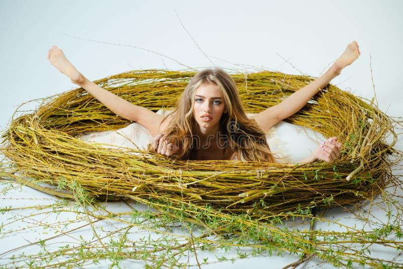 Sexy verleidelijk jong modelmeisje met perfect lichaam in modieuze kantlingerie die in een reusachtige neststijl liggen, Manier royalty-vrije stock afbeelding
