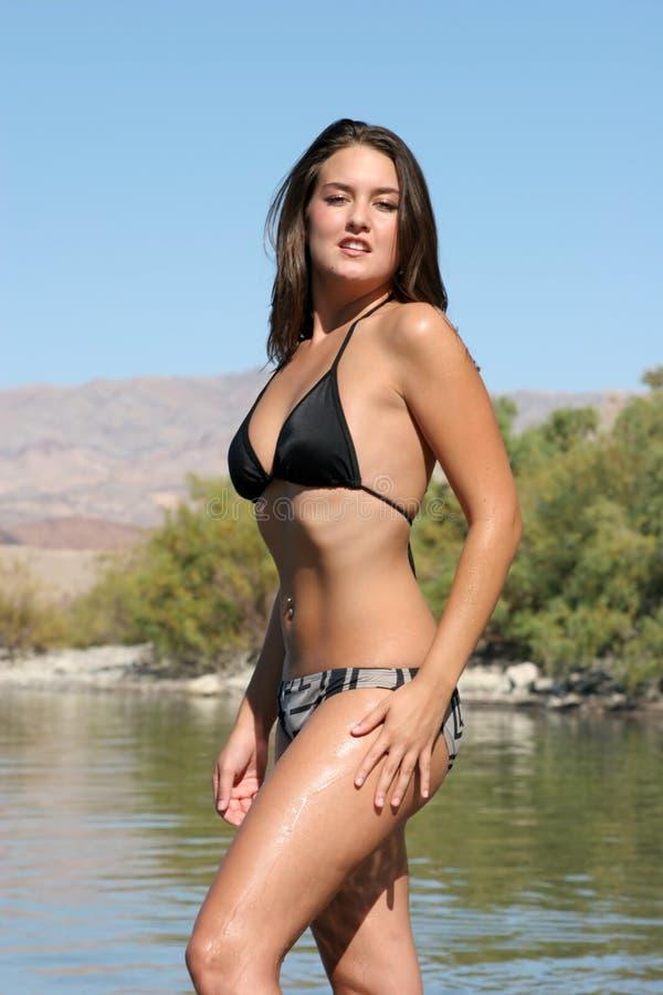 Sexy vrouw in bikini stock afbeelding