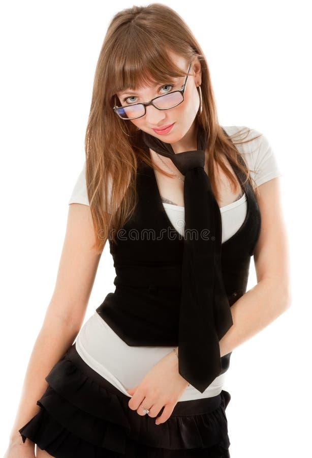 Sexy vrouw die aan de camera kijkt stock afbeeldingen