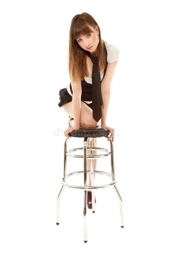 Sexy vrouw met barchair royalty-vrije stock afbeeldingen