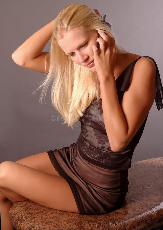 Sexy vrouw met blond haar royalty-vrije stock foto