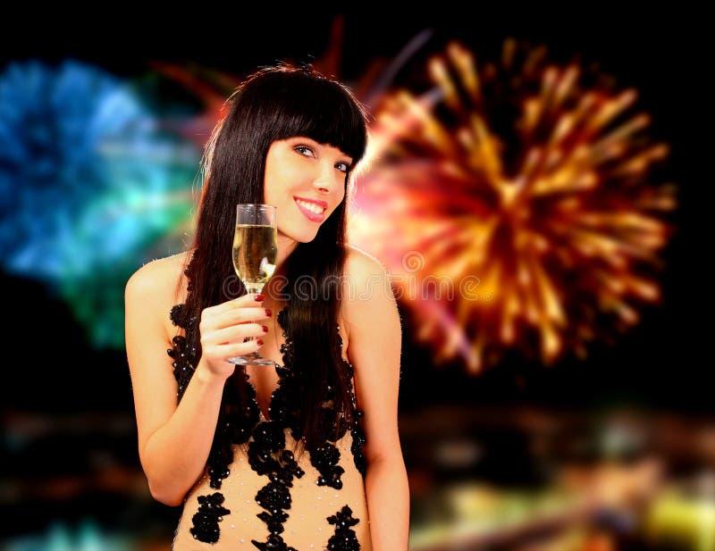 Sexy vrouw met champagneglas royalty-vrije stock afbeelding