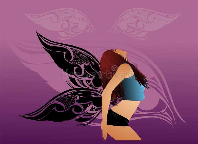 Sexy vrouw met vleugels royalty-vrije illustratie