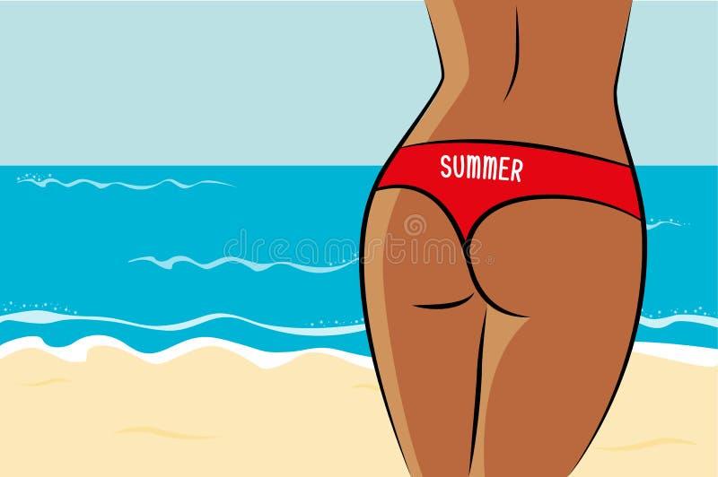 Sexy vrouwelijk uiteinde in de zomer in rood ondergoed op het strand royalty-vrije illustratie