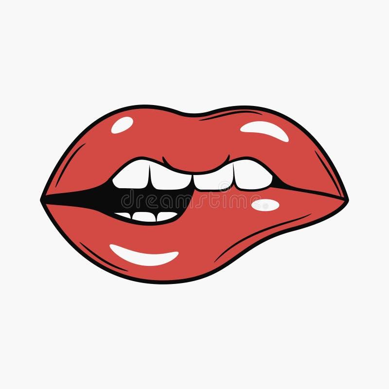 Sexy Vrouwelijke Beetlippen Grappige illustratie in retro pop-art vector illustratie