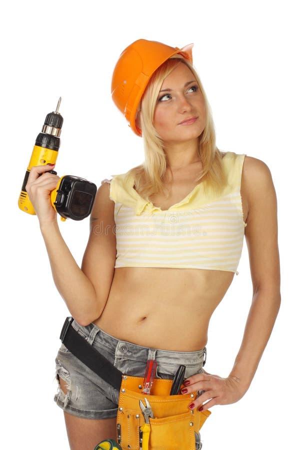 Sexy vrouwelijke bouwvakker royalty-vrije stock fotografie