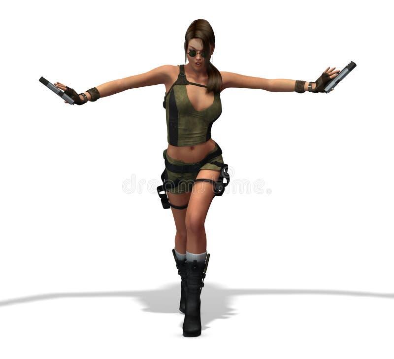 sexy Vrouwelijke hitman Moordenaar vector illustratie