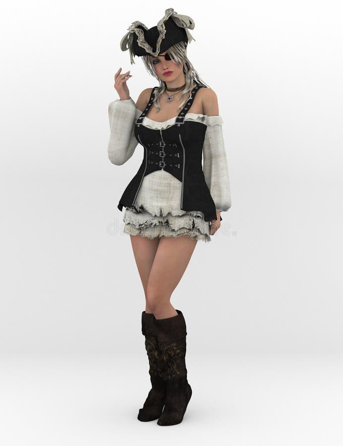 Sexy vrouwelijke piraat royalty-vrije illustratie