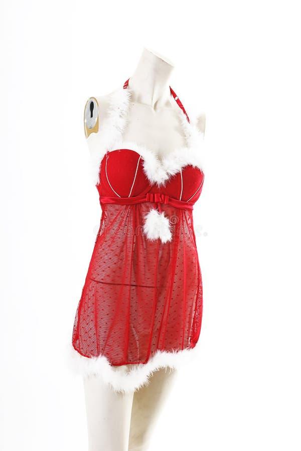 Sexy Wäsche Ded-Weihnachts-Sankt-Babydoll auf vollem Körperschaufenster des Mannequins Frauenmodearten, Kleidung auf weißer Studi lizenzfreie stockfotos
