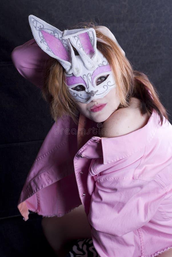 Sexy Weinig Paashaas in Roze royalty-vrije stock fotografie