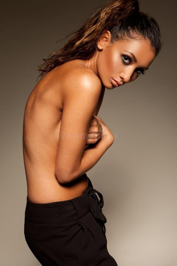 Sexy wellustige topless vrouw royalty-vrije stock foto's