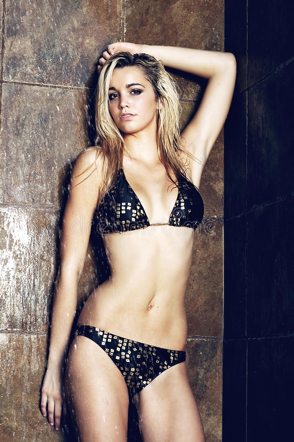 Download Wet blond woman stock photo. Image of slim, view, model - 22071252