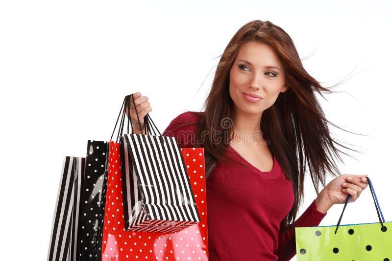 Sexy winkelend meisje stock afbeeldingen