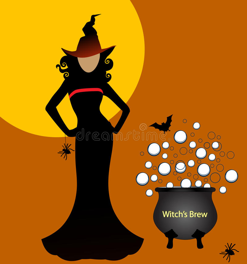 witch with brew vector illustration