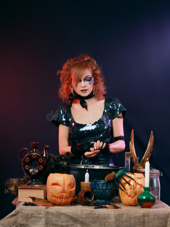 witch on a dark background stock image