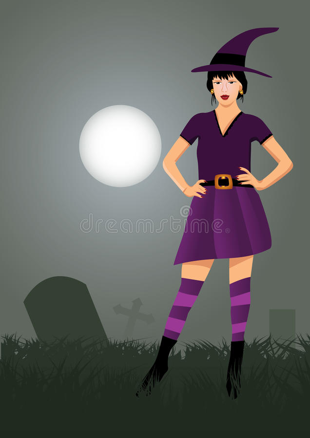 Witch. Halloween witch in cemetery stock illustration