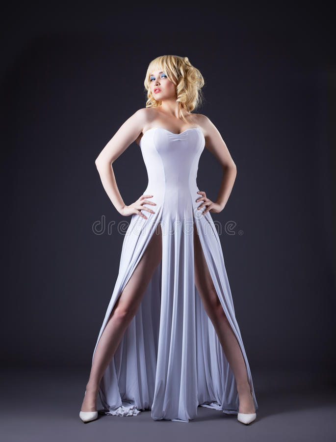 Sexy witte de manierdoek van de vrouwenslijtage stock foto's