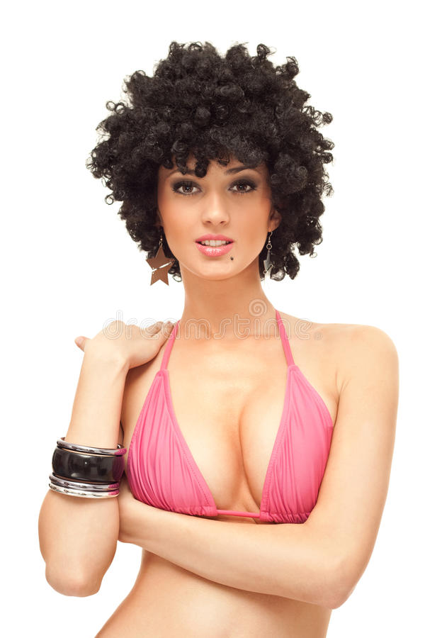 woman afro wig royalty free stock images
